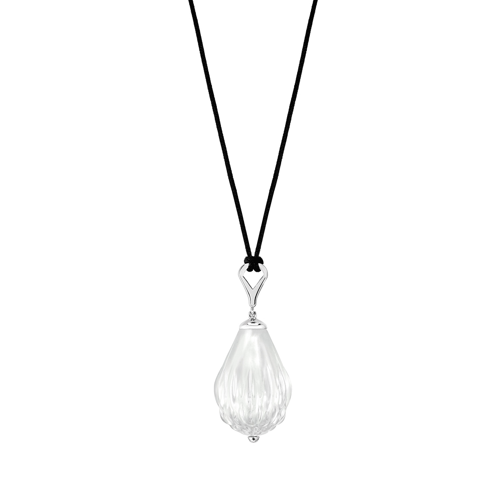 Flora Bella pendant | Clear crystal and silver | Costume jewellery Lalique