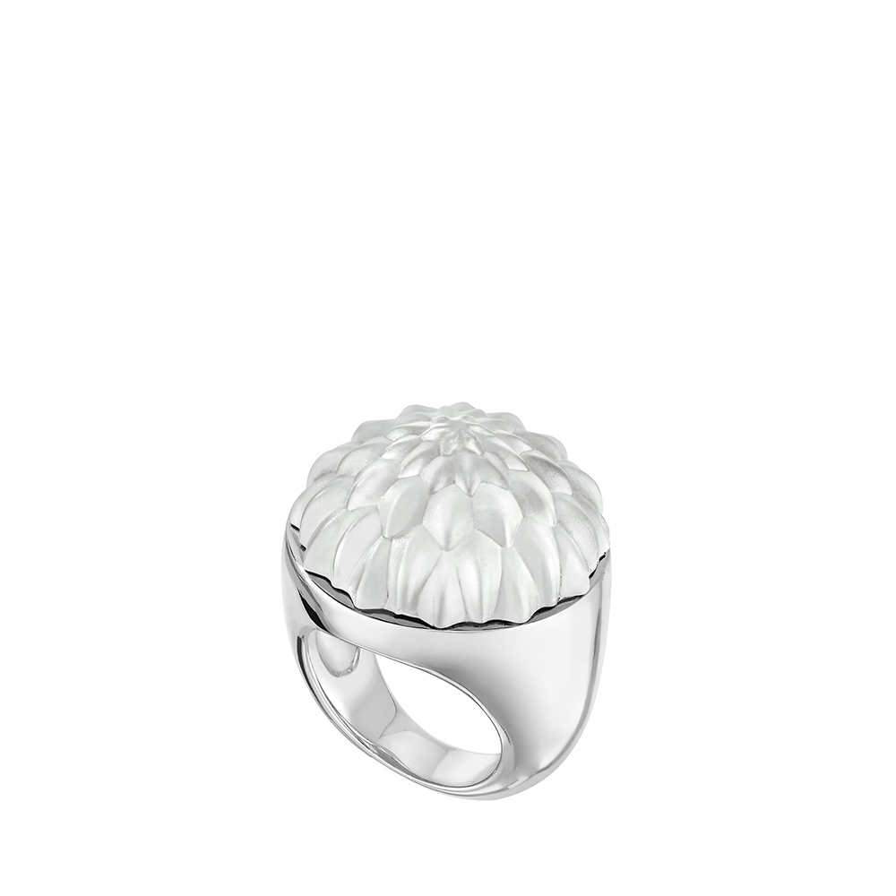 Flora Bella ring | Clear crystal and silver | Costume jewellery Lalique