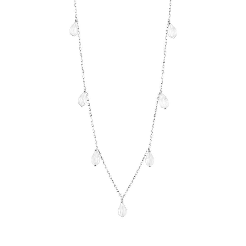 Flora Bella long necklace | Clear crystal and silver | Costume jewellery Lalique