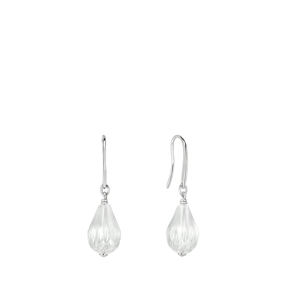 Flora Bella earrings | Clear crystal and silver | Costume jewellery Lalique