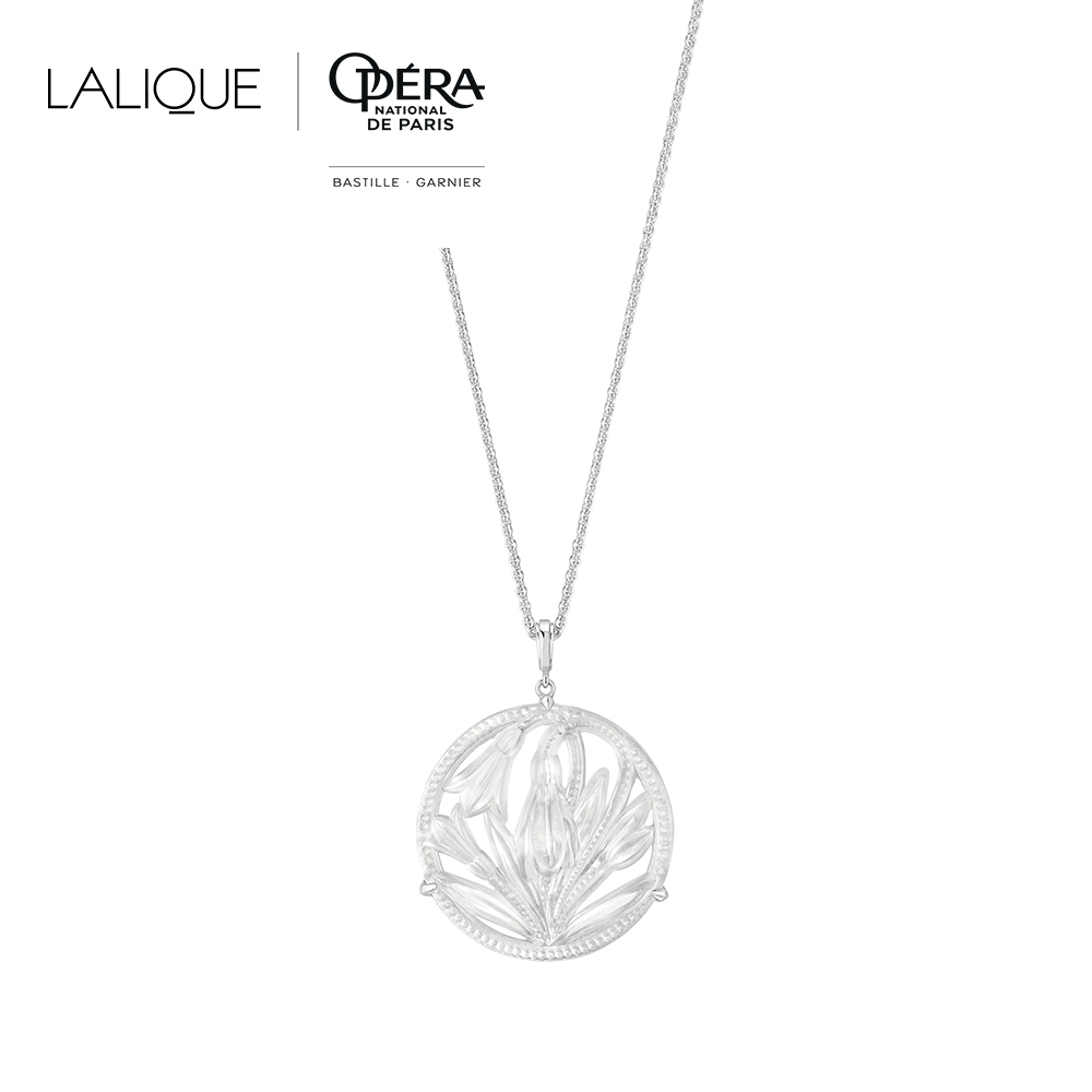 Fleur De Neige large pendant | Clear crystal and silver | Costume jewellery Lalique