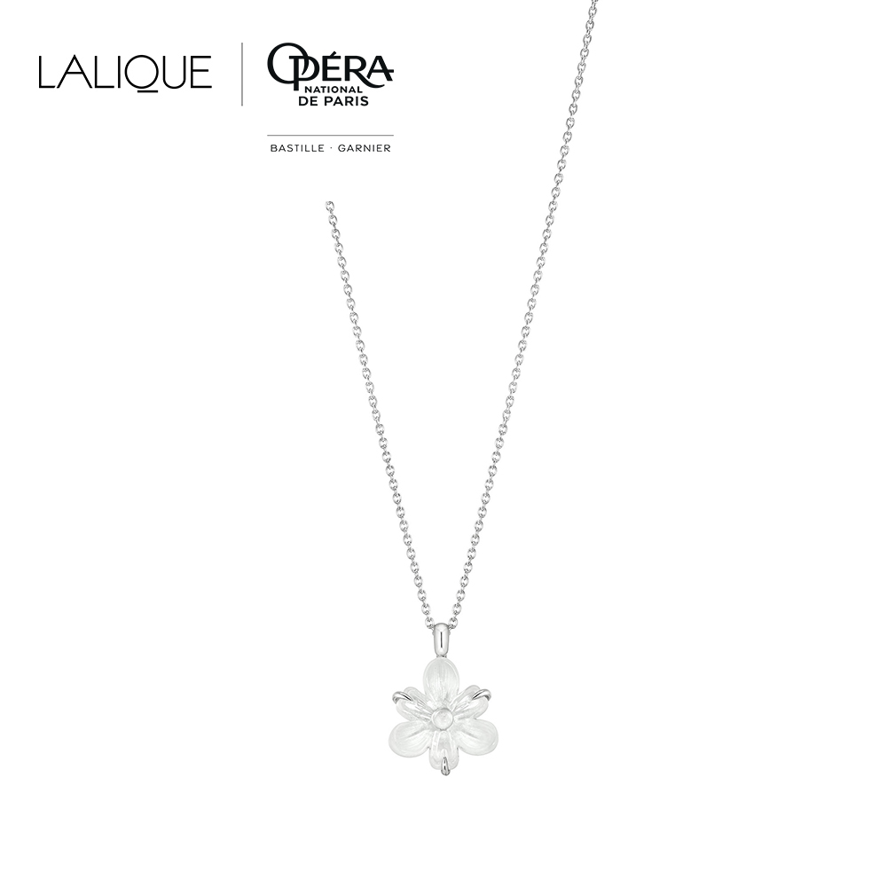 Fleur De Neige small pendant | Clear crystal and silver | Costume jewellery Lalique