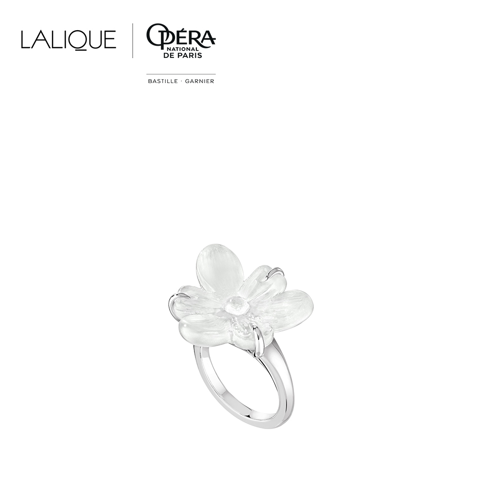 Fleur de Neige ring | Clear crystal and silver | Costume jewellery Lalique
