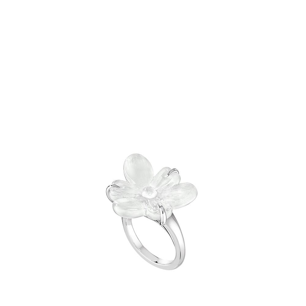 Bague Fleur de Neige | Cristal incolore, argent | Bijou fantaisie Lalique