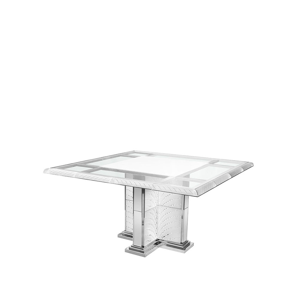 Coutard table | Square table, clear crystal | Pierre-Yves Rochon