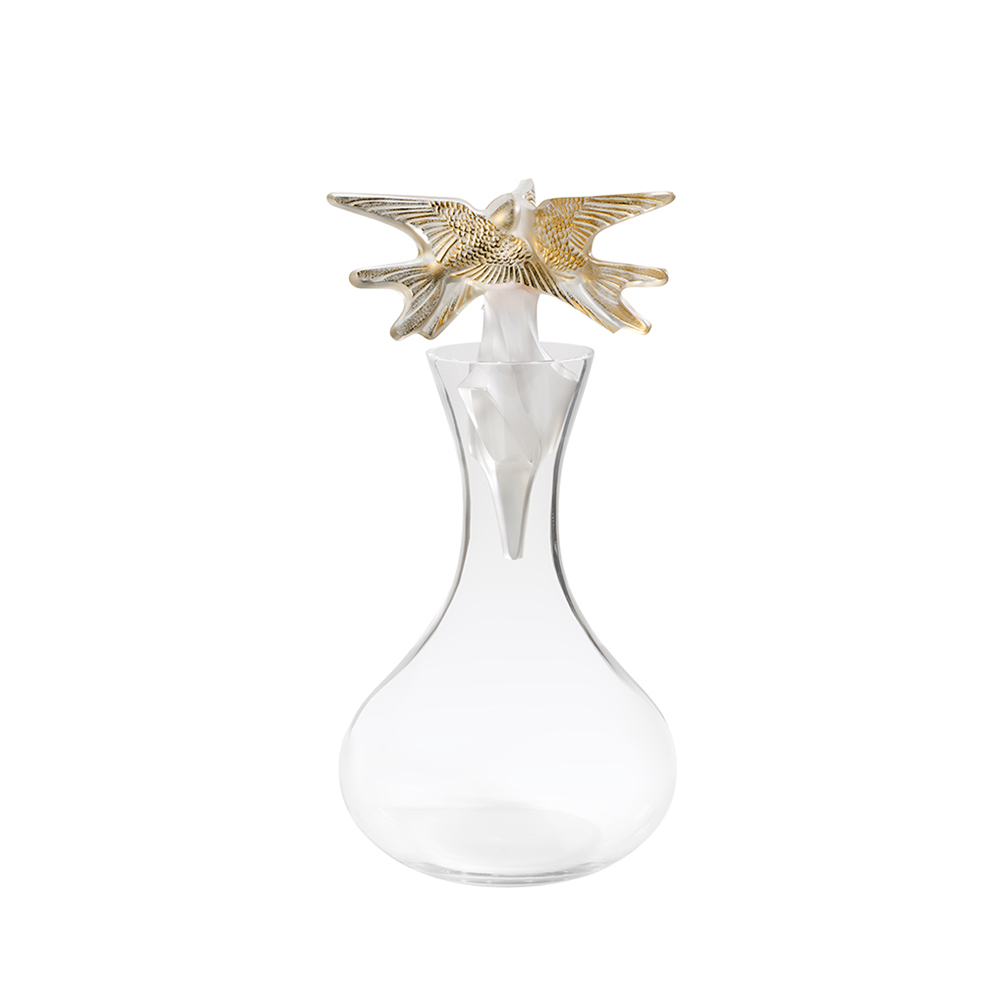Hirondelles vintage decanter | Vintage 2018, clear crystal and gold stamped | Vintage carafe, decanter Lalique