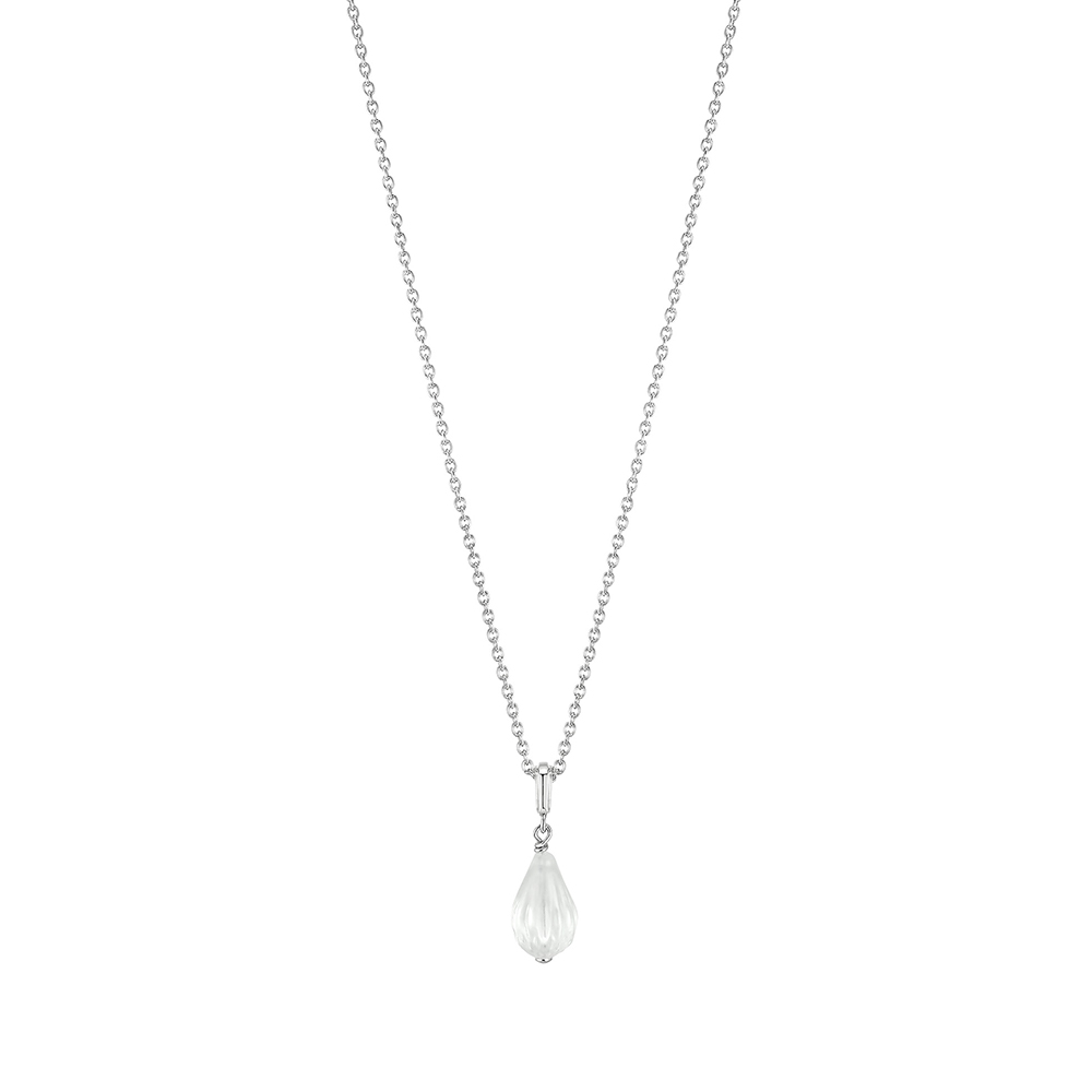 Flora Bella small pendant | Clear crystal and silver | Costume jewellery Lalique
