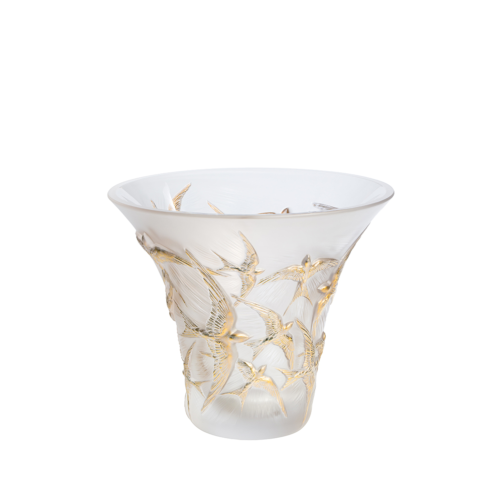 Hirondelles flared vase | Clear and gold stamped | Vase Lalique