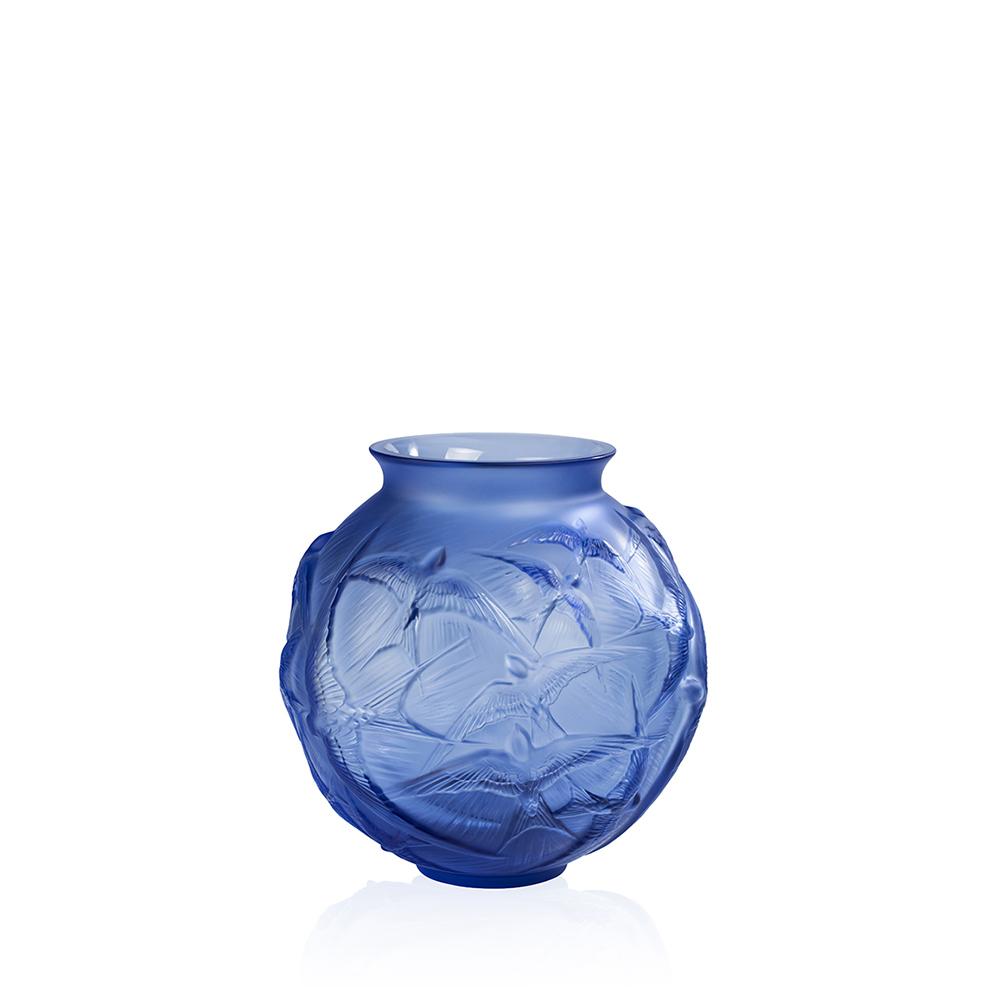 Hirondelles medium vase | Sapphire blue crystal | Vase Lalique