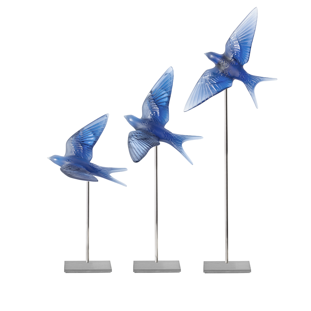 Swallow wings up wall sculpture | Sapphire blue crystal | Sculpture Lalique