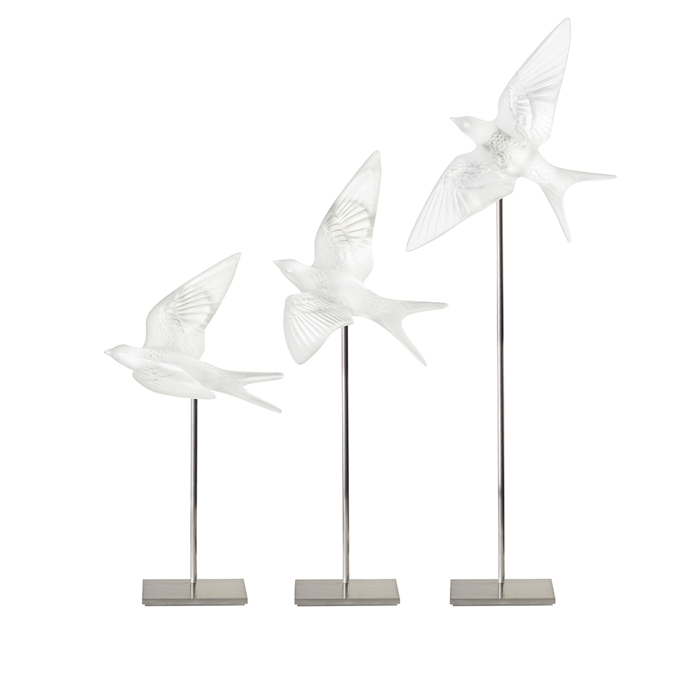 Swallow wings down wall sculpture | Clear crystal | Sculpture Lalique