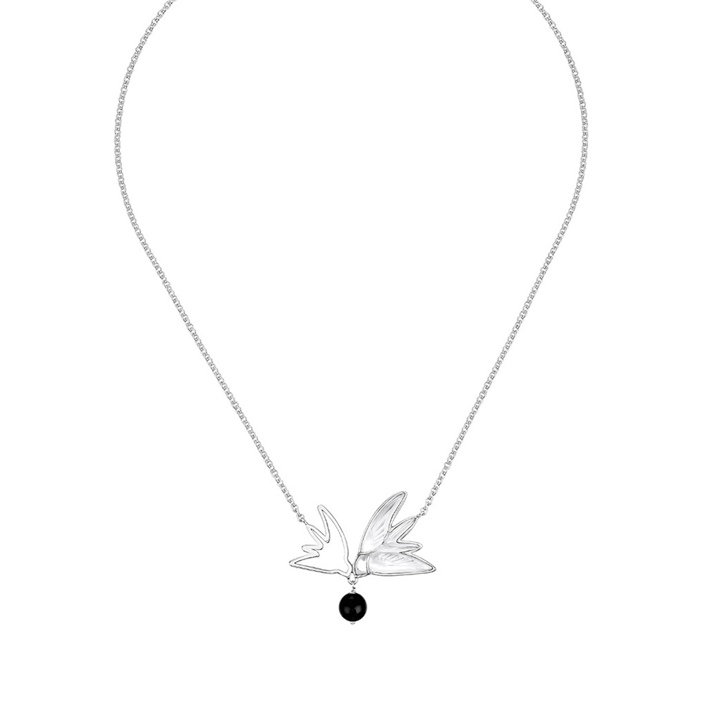 Hirondelles Necklace | Clear crystal, Onyx, silver | Fantasy jewelry Lalique