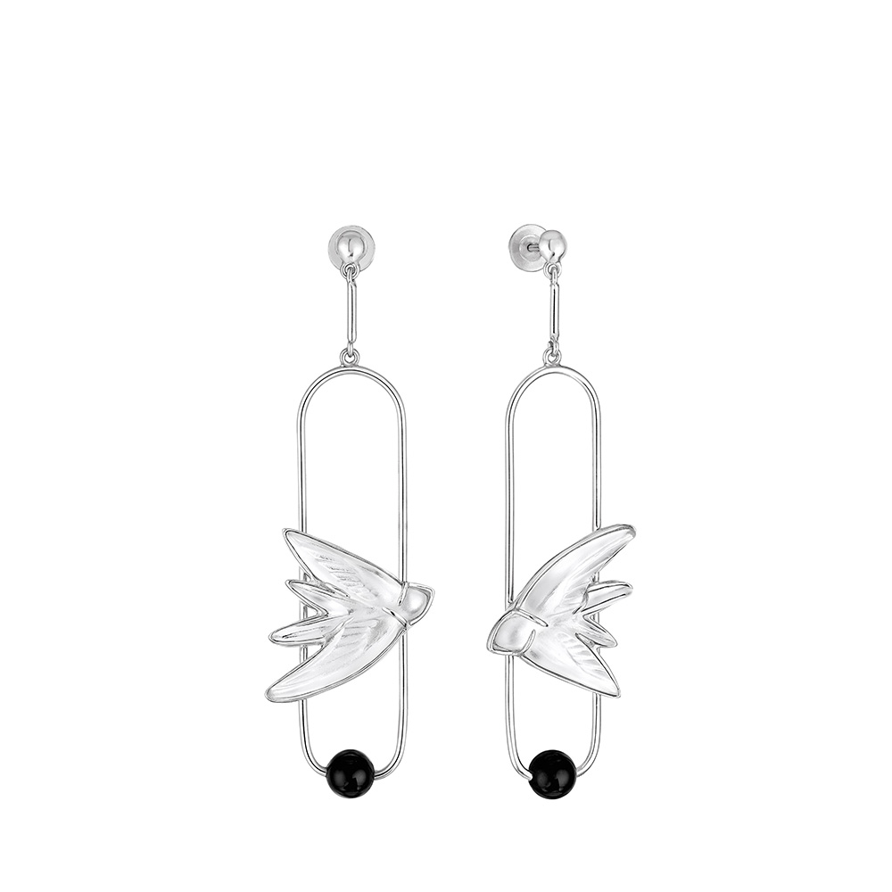 Hirondelles earrings | Clear crystal, Onyx, silver | Costume jewellery Lalique