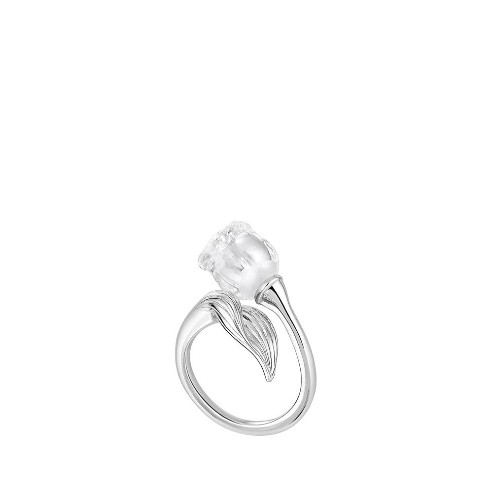 0ee14015782f6d Bague muguet | Cristal incolore, argent | Bijou fantaisie Lalique ...