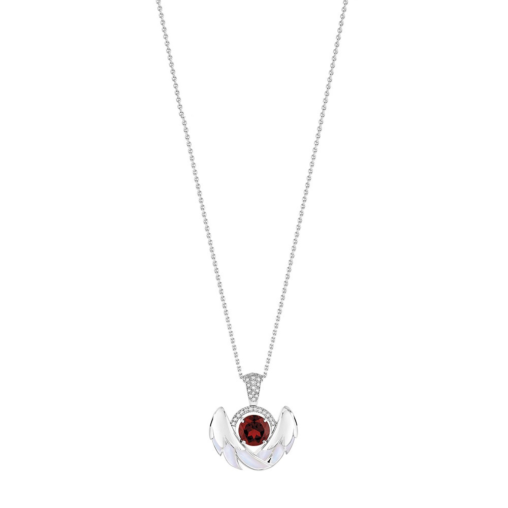 Cygnes pendant, small | Garnet, Diamond, Mother-of-pearl, White gold | Lalique fine jewellery