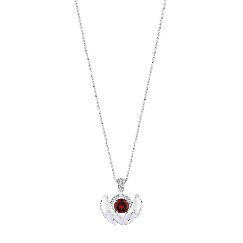 Cygnes pendant, small | Garnet, Diamond, Mother-of-pearl, White gold | Lalique fine jewellery