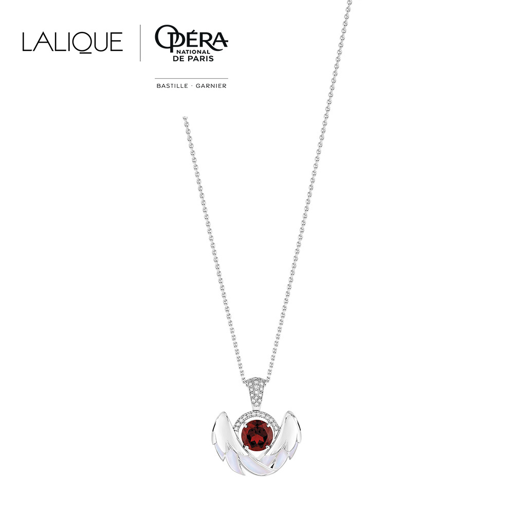 Cygnes pendant | Garnet, Diamond, Mother-of-pearl, White gold | Lalique fine jewellery