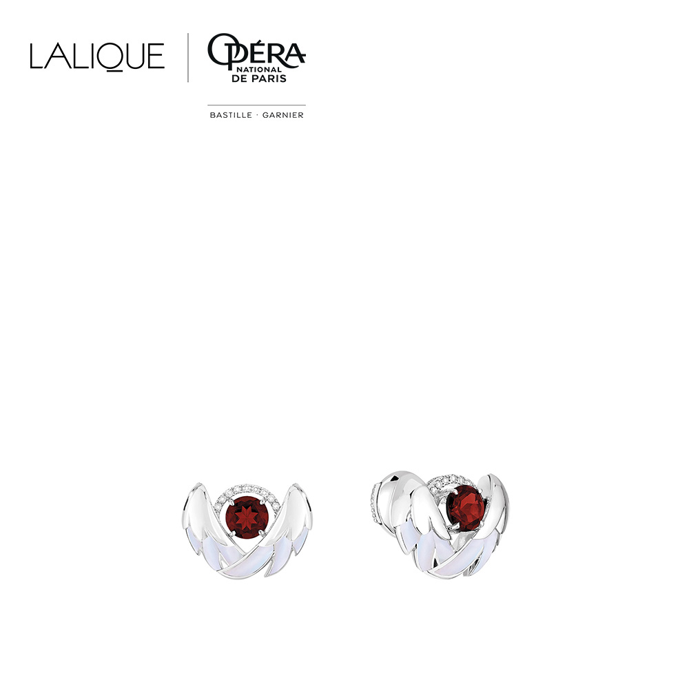 Cygnes Earrings | Garnet, Diamond, Mother-of-pearl, White gold  | Lalique fine jewellery