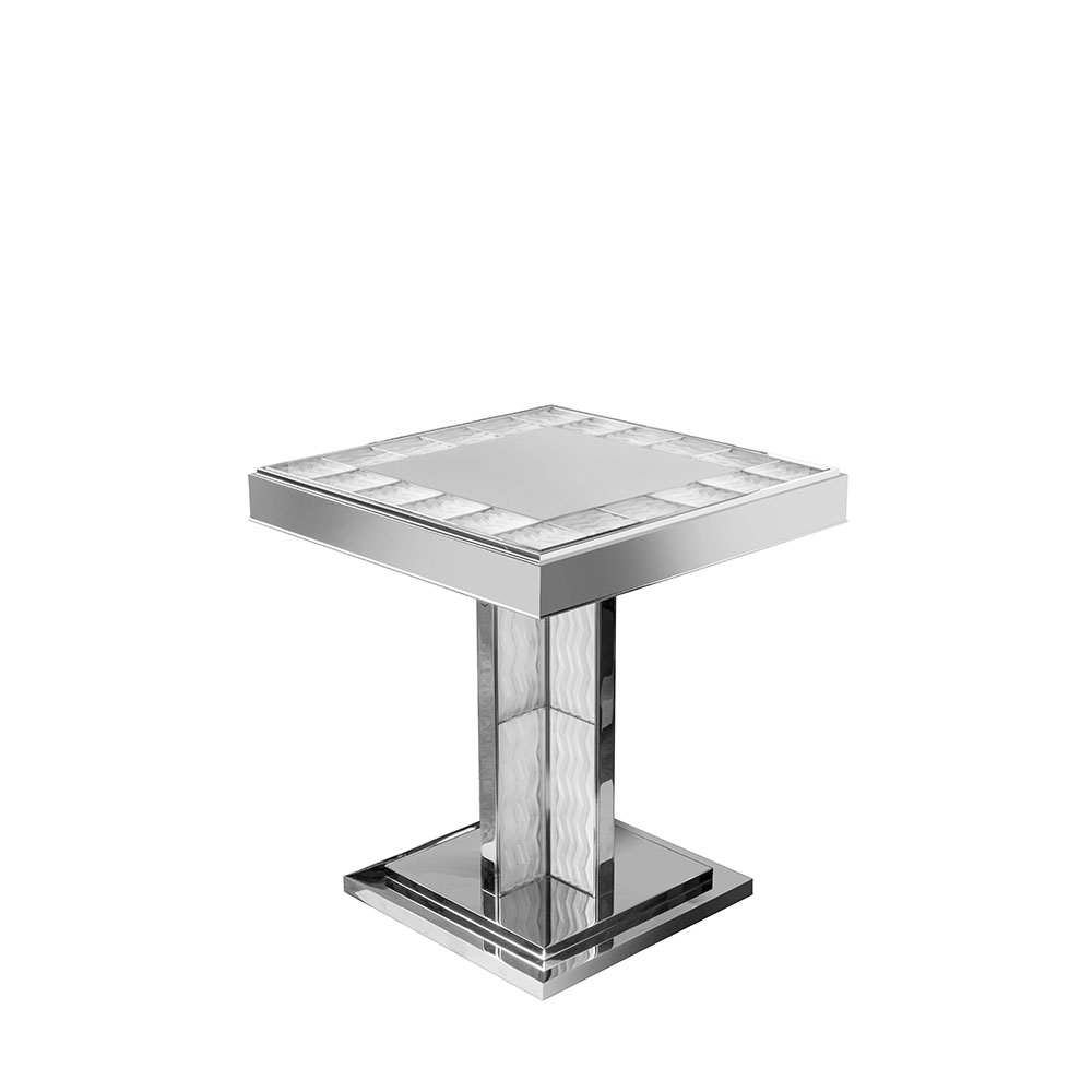 Soudan Pedestal Table | Clear crystal and bright nickel | Pierre-Yves Rochon