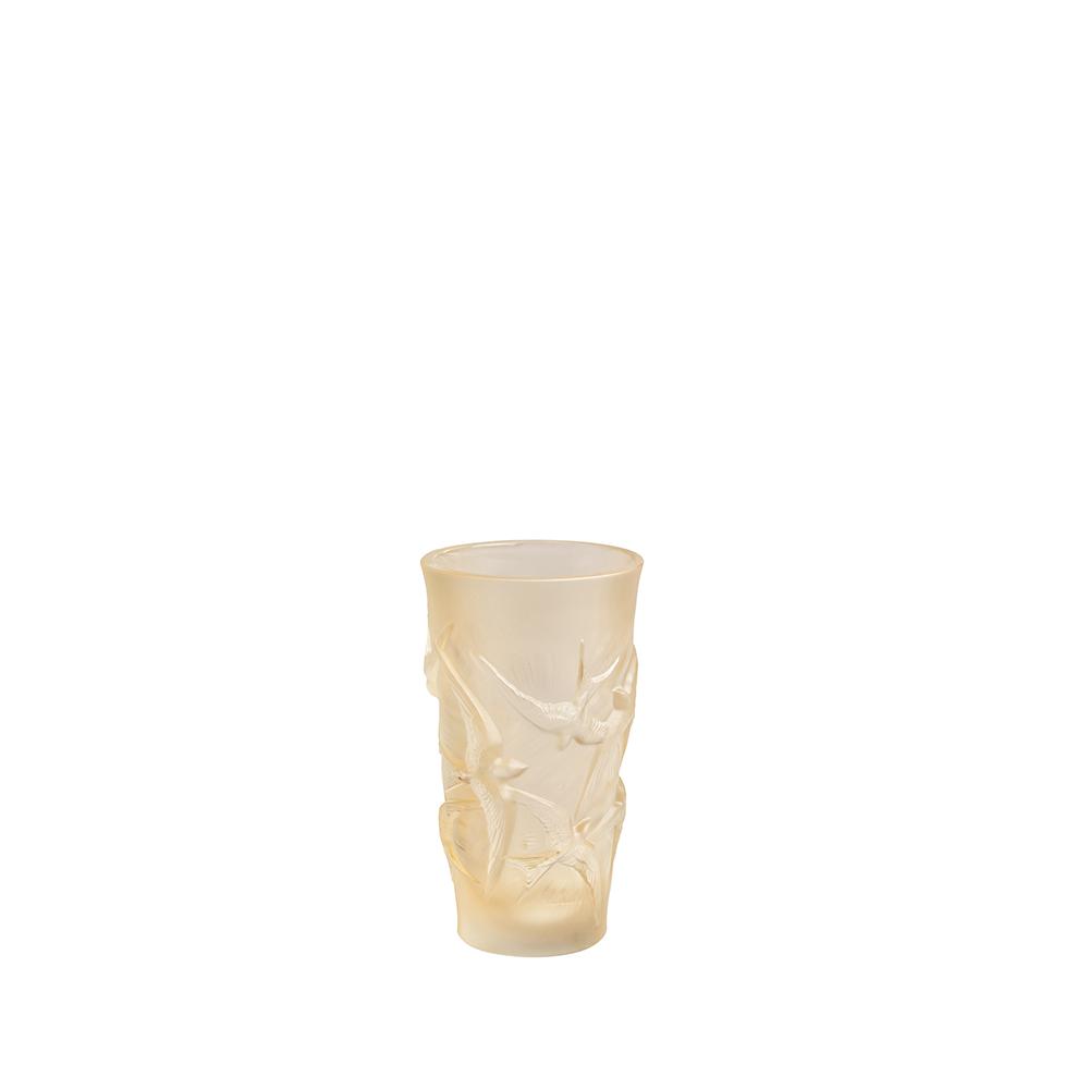 Hirondelles small vase | Gold luster crystal | Vase Lalique