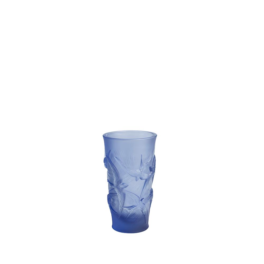 Hirondelles small vase | Sapphire blue crystal | Vase Lalique