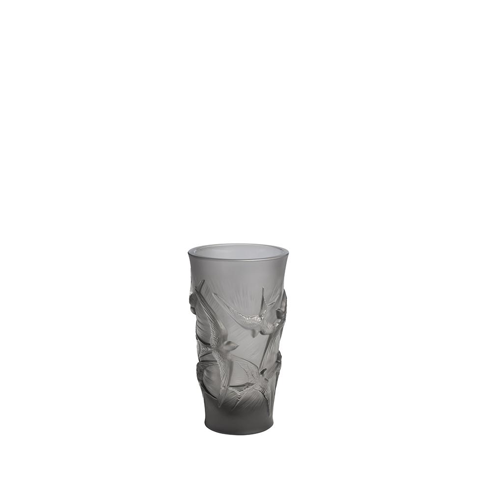 Hirondelles small vase | Grey crystal | Vase Lalique