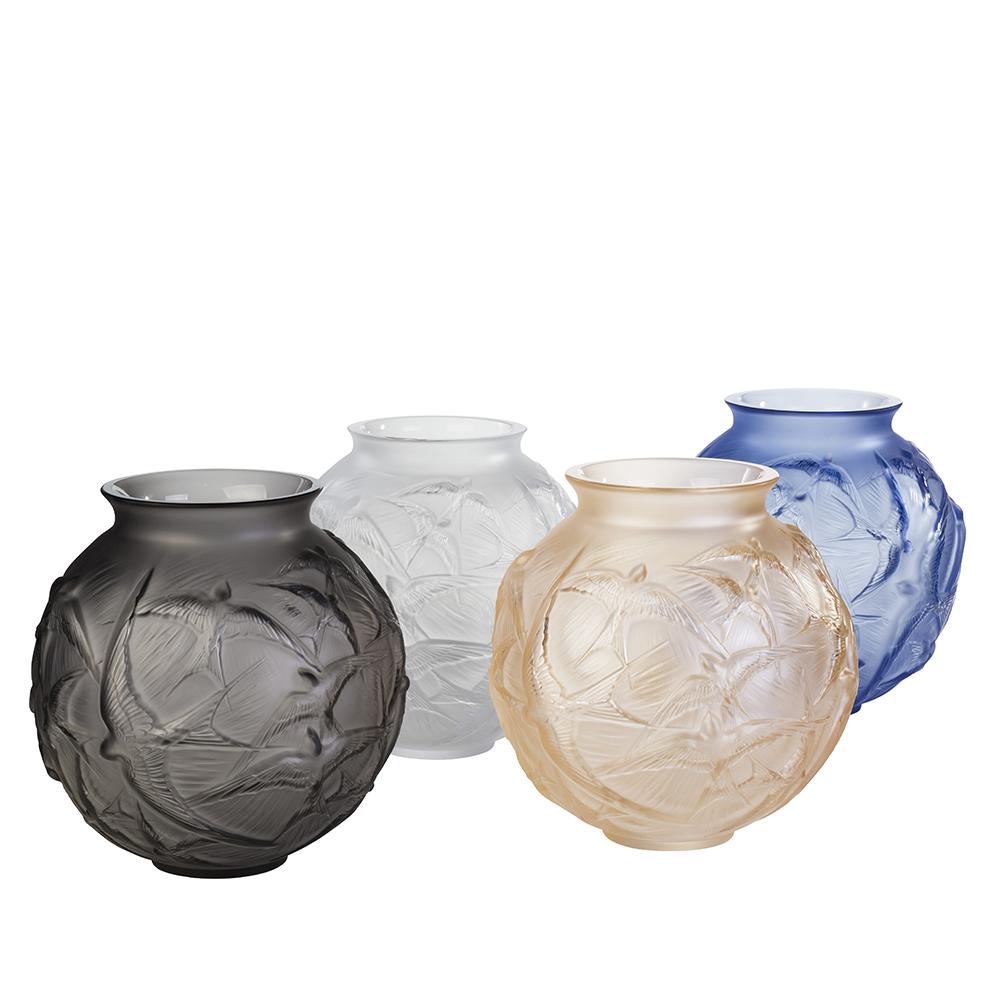 Hirondelles medium vase | Gold luster crystal | Vase Lalique