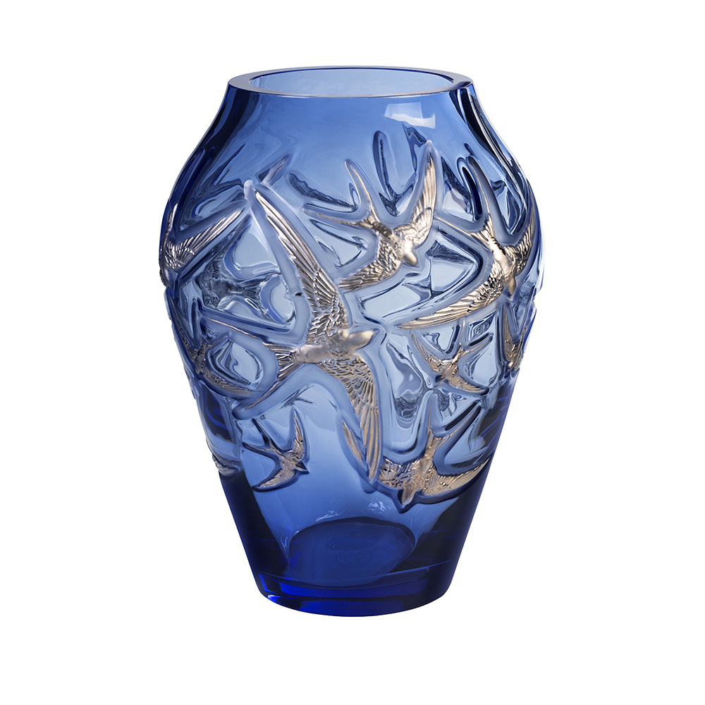 Hirondelles grand vase | Limited edition (130 pieces), sapphire blue, platinum stamped | Vase Lalique