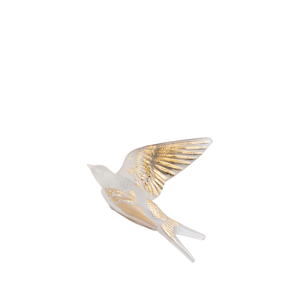 Swallow wings up wall sculpture | Clear gold stamped crystal | Sculpture Lalique
