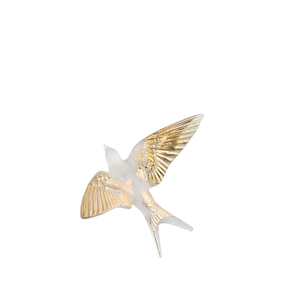 Swallow wall sculpture | Clear, gold stamped crystal | Sculpture Lalique