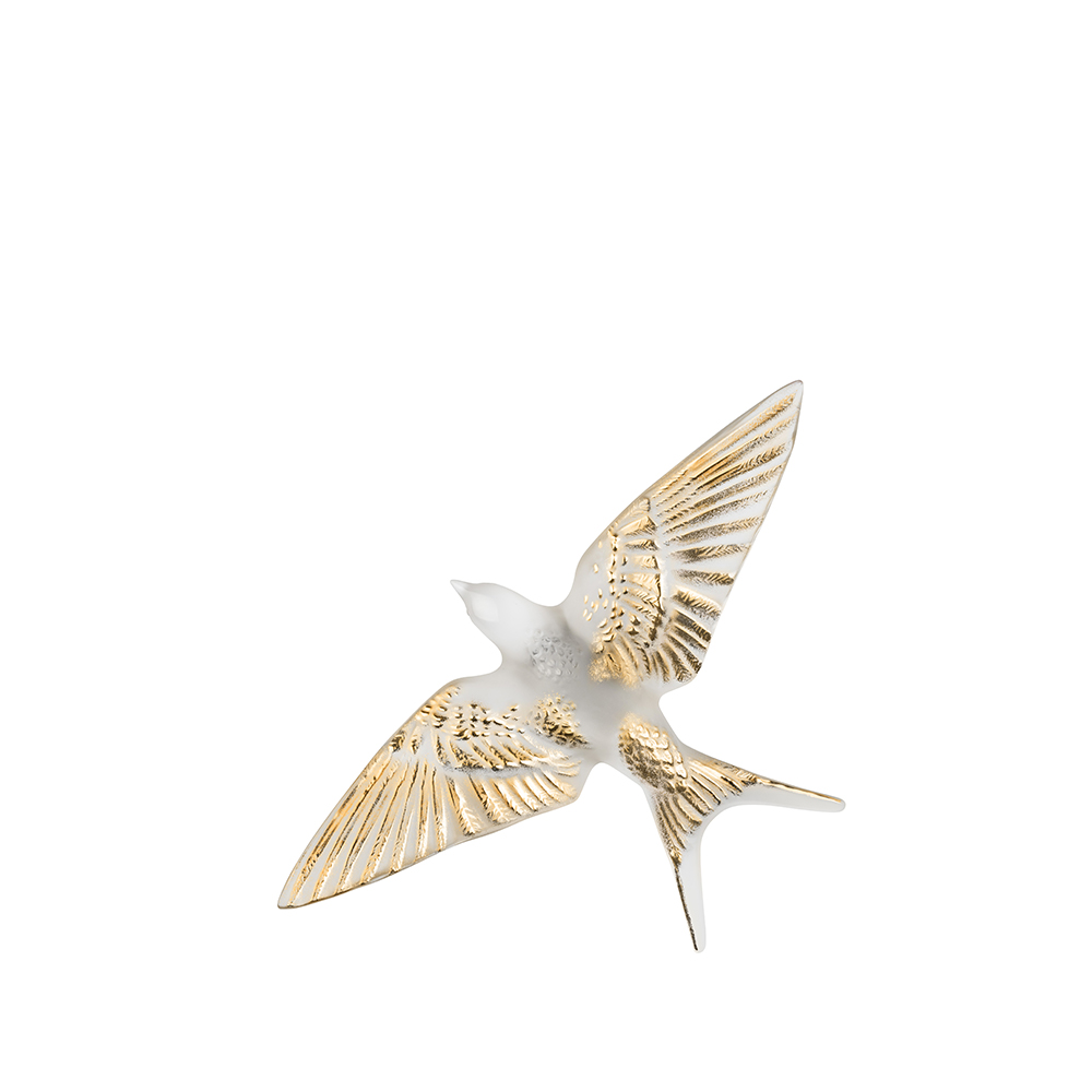 Swallow wings down wall sculpture | Clear gold stamped crystal | Sculpture Lalique