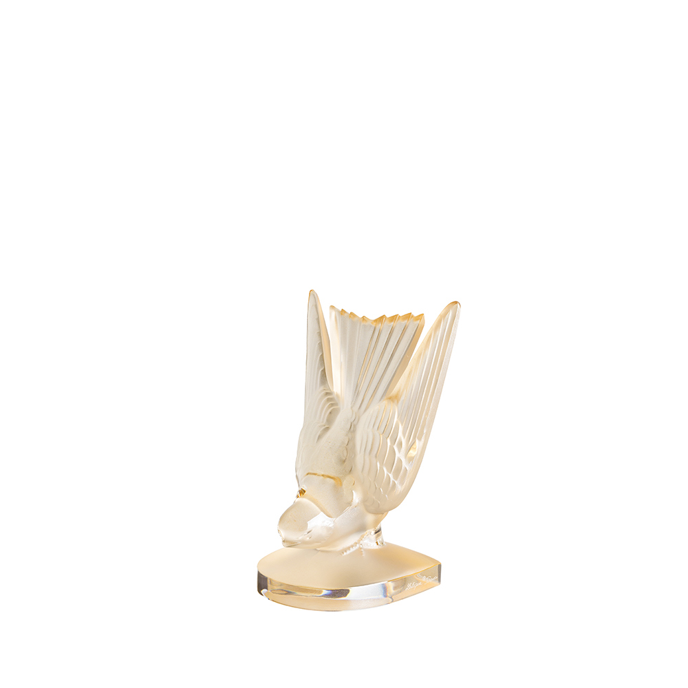 Swallow sculpture, paperweight | Gold luster crystal | Lalique crystal sculpture