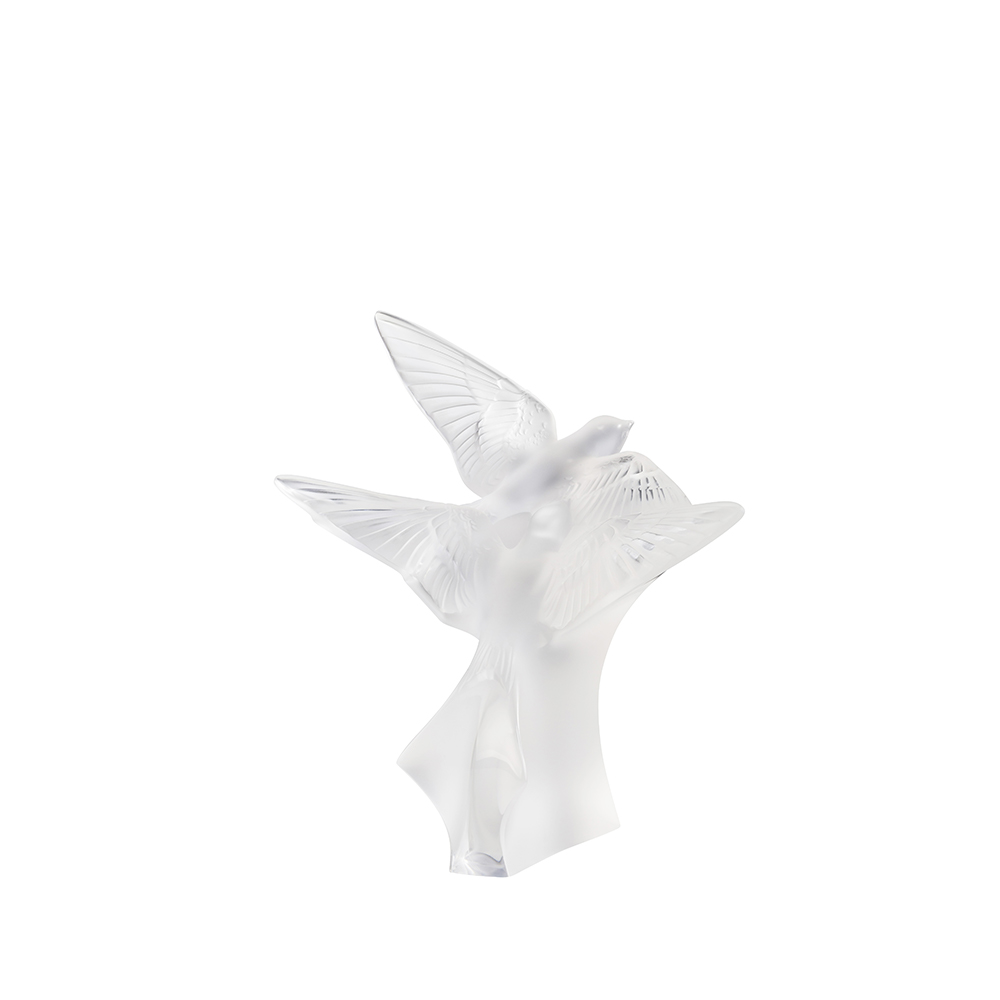 Two swallows small sculpture | Clear crystal | Sculpture Lalique