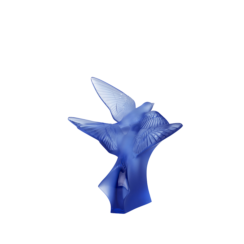 Two swallows small sculpture | Sapphire blue crystal | Sculpture Lalique