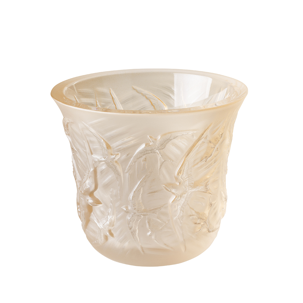 Hirondelles votive | Gold luster crystal | Lalique crystal votive