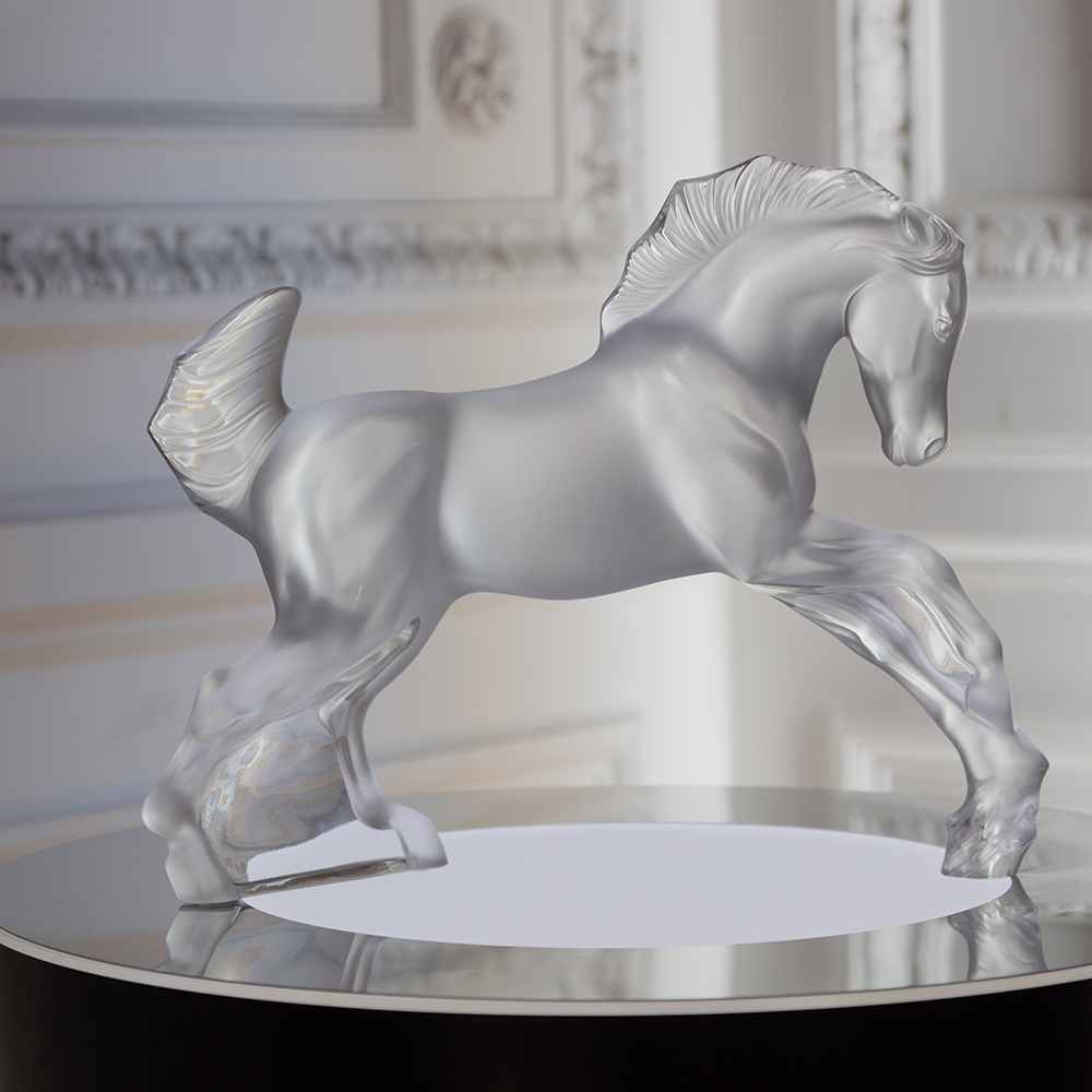 Horse sculpture | Clear crystal | Sculpture Lalique