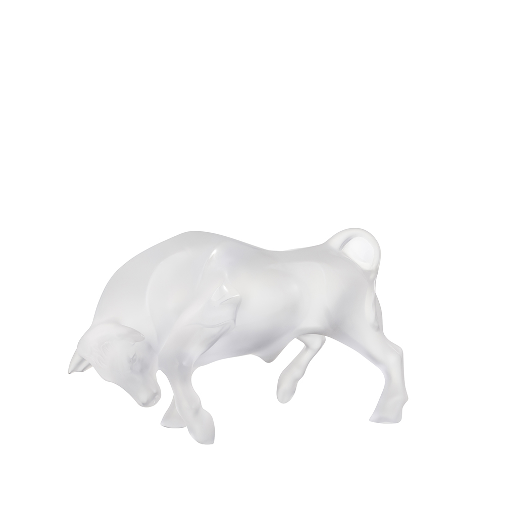Bull sculpture | Clear crystal | Sculpture Lalique