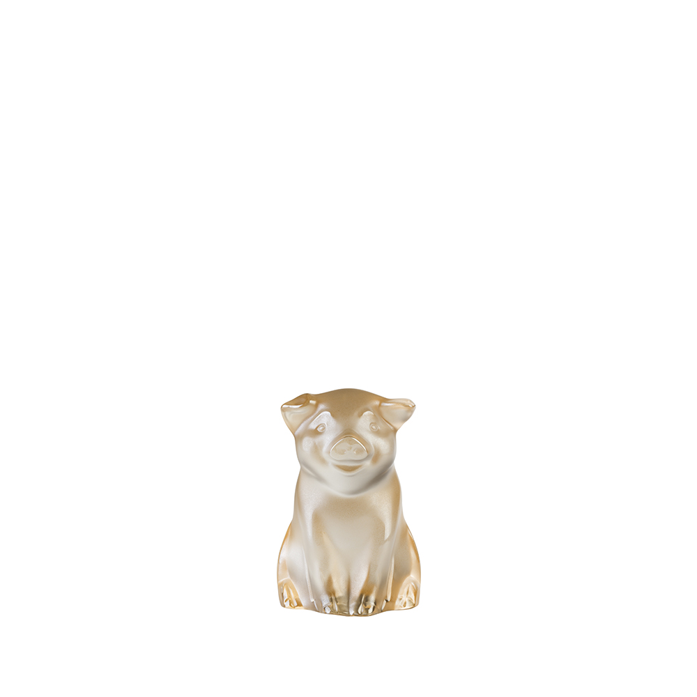 Pig sculpture | Gold luster cristal | Sculpture Lalique
