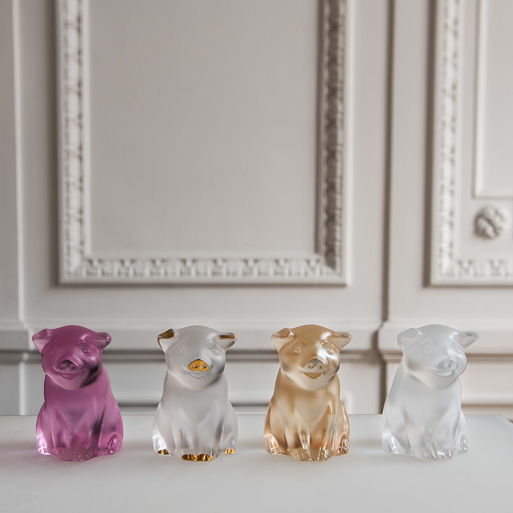 Pig sculpture | Clear and gold stamped cristal | Sculpture Lalique