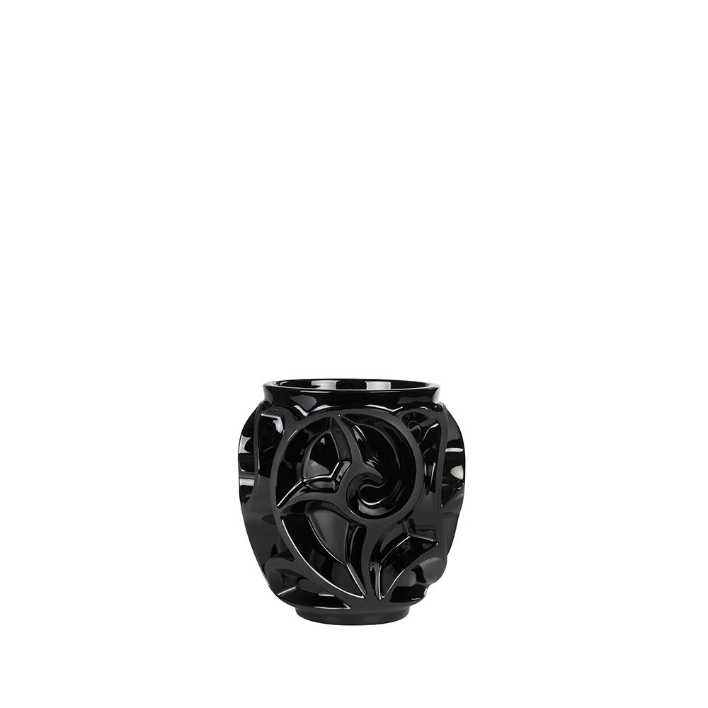 Tourbillons vase | Black crystal, small size | Vase Lalique