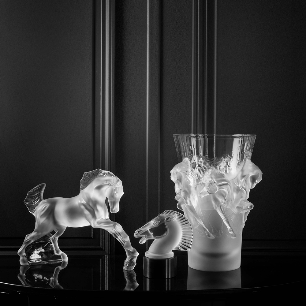 Lonchamp lighted horse sculpture | Clear crystal | Sculpture Lalique