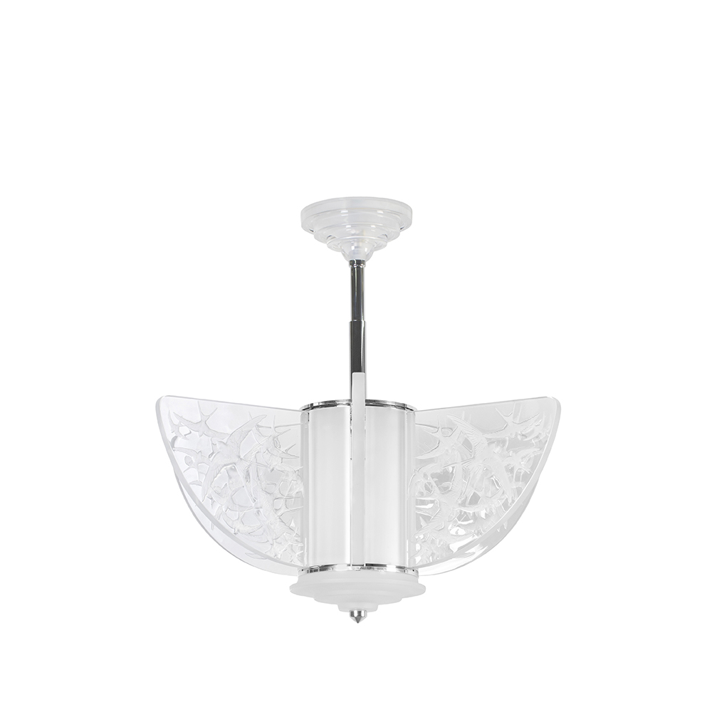Hirondelles chandelier | Clear crystal, chrome finish, small size | Interior Design Lalique