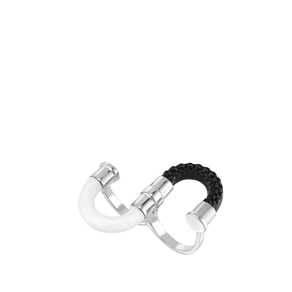1927 Double ring | Black crystal, silver platedd | Lalique exclusive collection