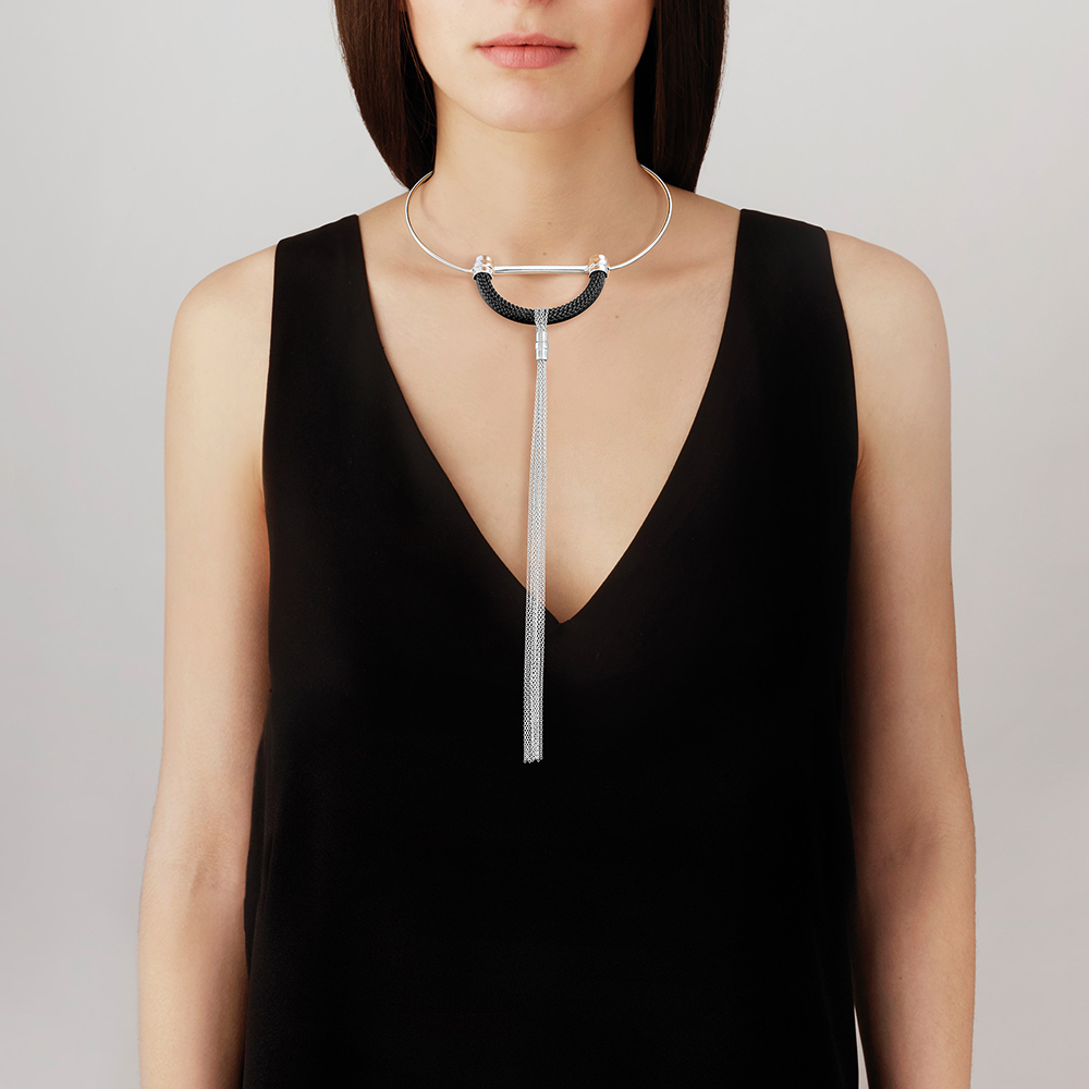 1927 Necklace | Black crystal, silver plated | Lalique exclusive collection