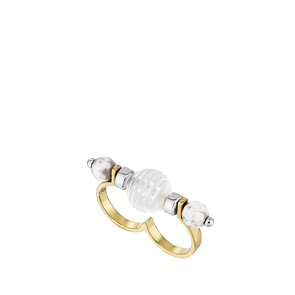1928 Double ring | Clear crystal and marble glass, 18K yellow gold and silver plated | Lalique exclusive collection