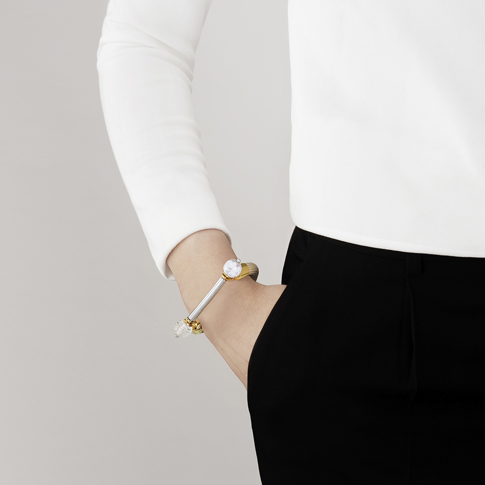 1928 Bracelet | Clear crystal and marble glass, 18K yellow gold and silver plated | Lalique exclusive collection