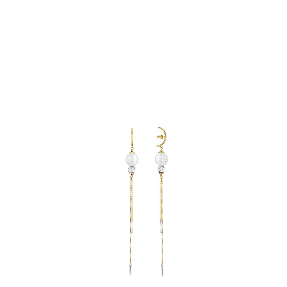 1928 earrings | Clear crystal and marble glass, 18K yellow gold and silver plated | Lalique exclusive collection