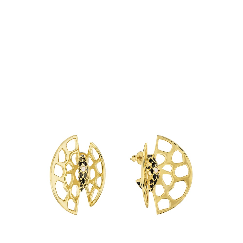 Eurydice earrings | Clear crystal and black lacquer, 18K yellow gold plated | Costume jewellery Lalique