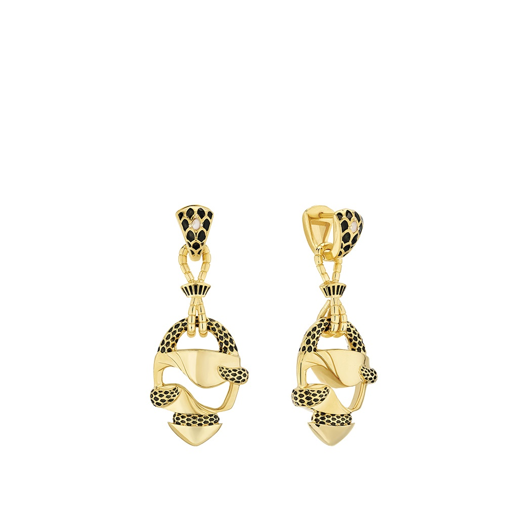 Eurydice long earrings | Clear crystal and black lacquer, 18K yellow gold plated | Costume jewellery Lalique