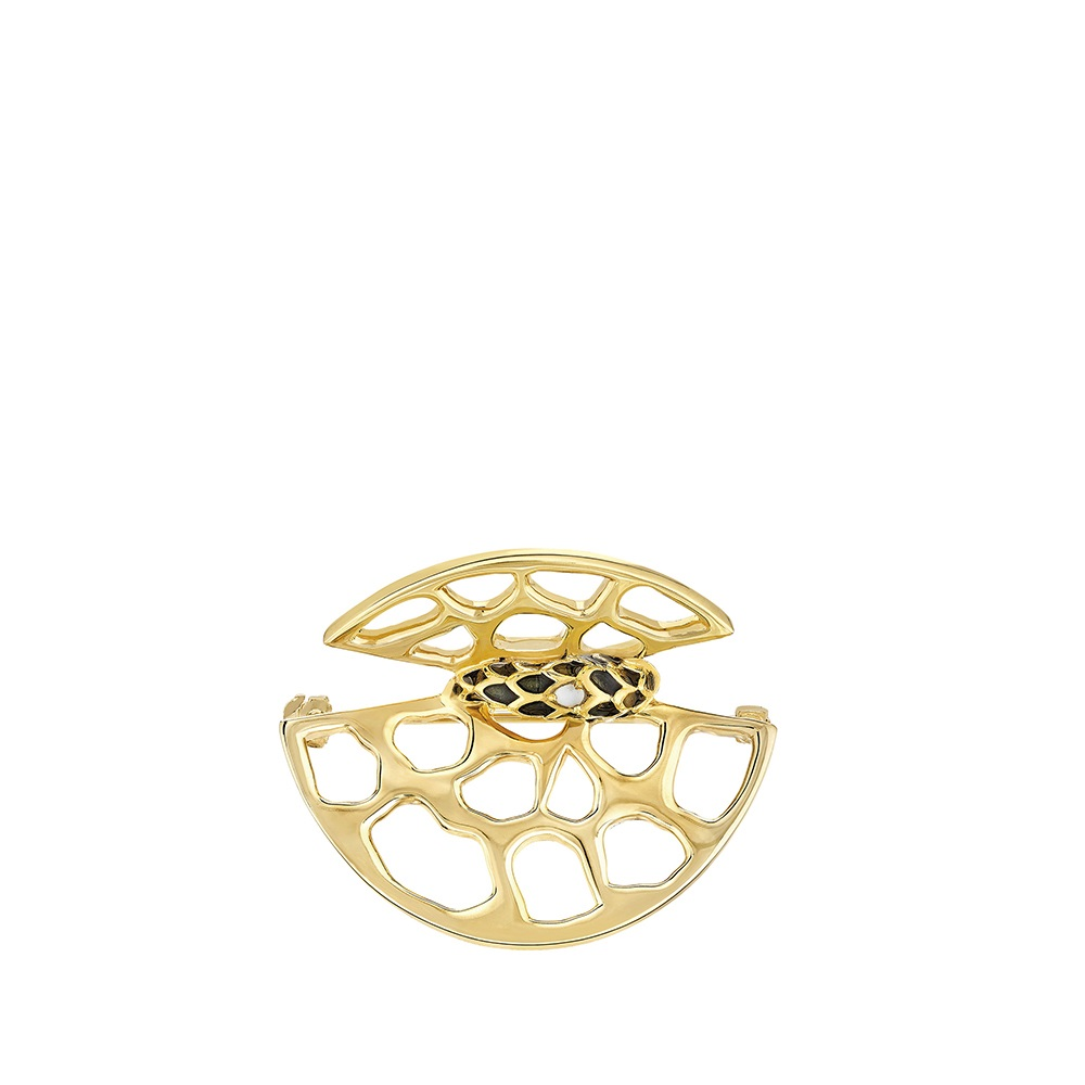 Eurydice brooch | Clear crystal and black lacquer, 18K yellow gold plated | Costume jewellery Lalique
